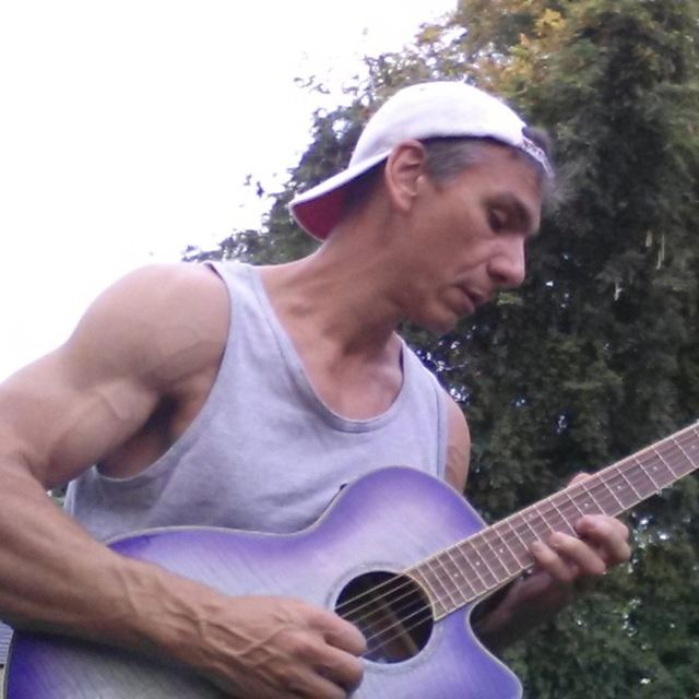 Mike on guitar